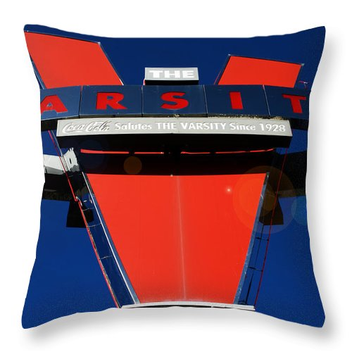 The Varsity Throw Pillow featuring the photograph The Varsity by Kelly Rader
