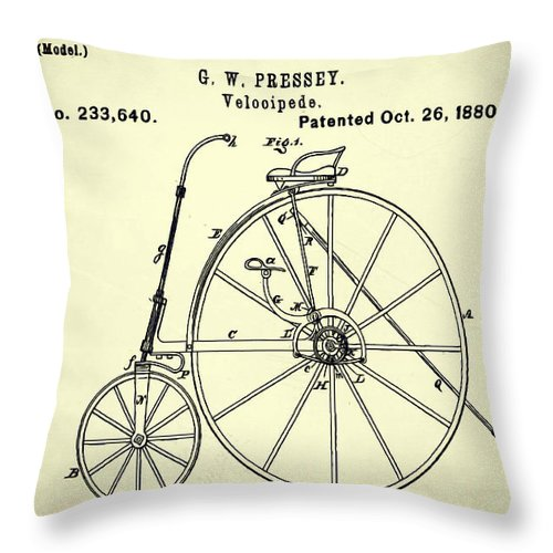 The Velocipede Patent 1880 Throw Pillow featuring the digital art The Velocipede Patent 1880 by Bill Cannon
