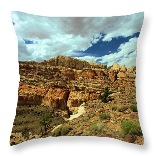 Capitol Reef National Park Throw Pillow featuring the photograph The Waterpocket Fold by Adam Jewell
