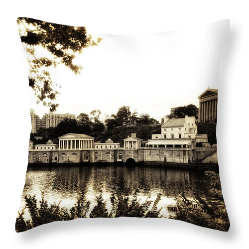 The Waterworks In Sepia Throw Pillow featuring the photograph The Waterworks In Sepia by Bill Cannon