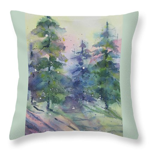 Winter Throw Pillow featuring the painting The Way To Sarah's by Amy Householder