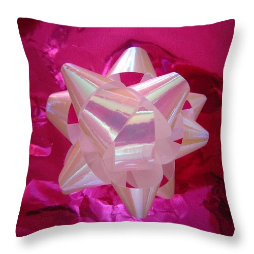 Pink Throw Pillow featuring the photograph The White Bow by Sarah E Ethridge