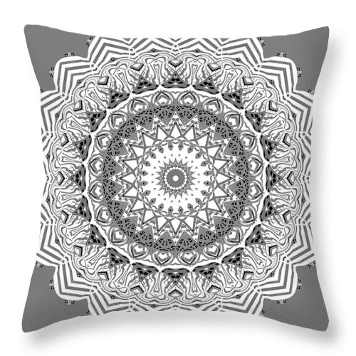 Digital Throw Pillow featuring the digital art The White Mandala No. 2 by Joy McKenzie