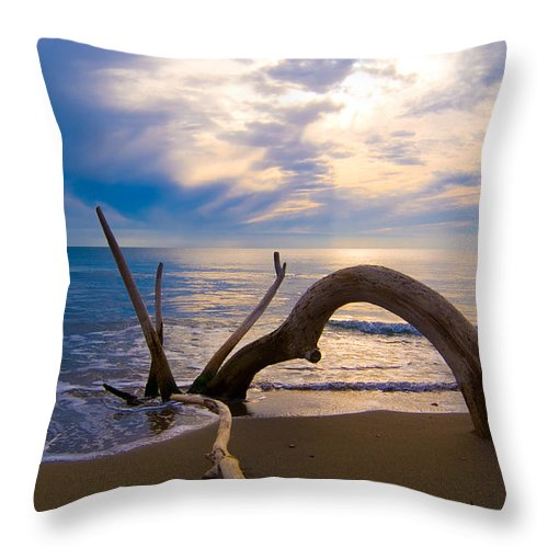 Driftwood Sea Mediterranean Sunset Sky Cloud Water Calm Serenity Throw Pillow featuring the photograph The Wooden Arch by Marco Busoni
