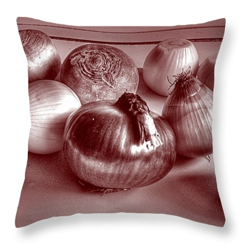 The World In Red And Black Throw Pillow featuring the photograph The World In Red And Black by William Fields