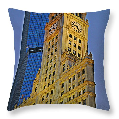 Wrigley Building Throw Pillow featuring the photograph The Wrigley Building by Mary Machare