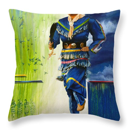 Mary Throw Pillow featuring the painting They Dance For Those That Can't by Ken Hancock