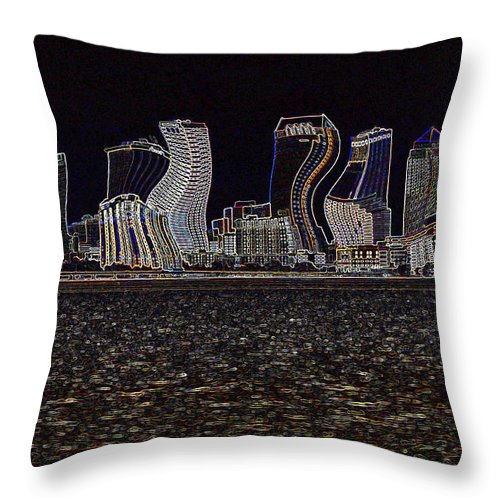 Abstract Art Throw Pillow featuring the photograph This City Is Rockin' by Carol Groenen