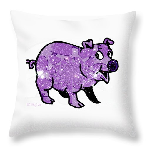 Pig Throw Pillow featuring the digital art This Little Piggy by Donna Bentley