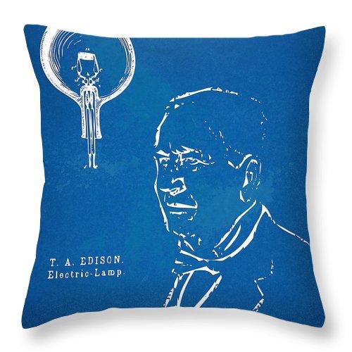 Thomas Edison;edison Throw Pillow featuring the digital art Thomas Edison Lightbulb Patent Artwork by Nikki Marie Smith