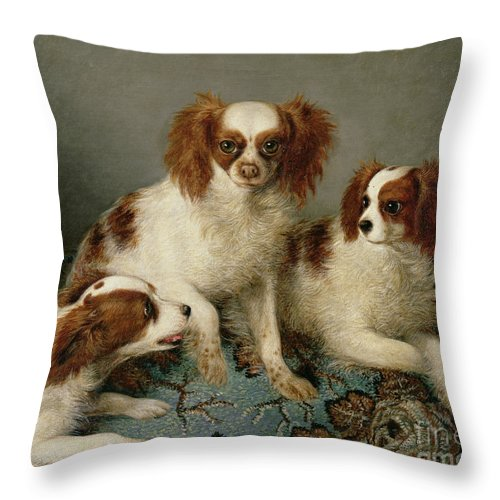 Three Cavalier King Charles Spaniels On A Rug Throw Pillow featuring the painting Three Cavalier King Charles Spaniels On A Rug by English School