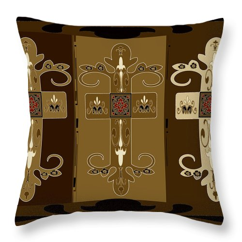 Crosses Throw Pillow featuring the painting Three Crosses by Dede Shamel Davalos