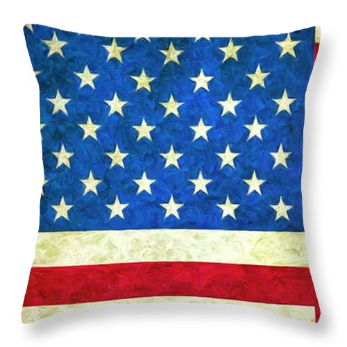 Three Flags Throw Pillow featuring the painting Three Flags by Dominic Piperata
