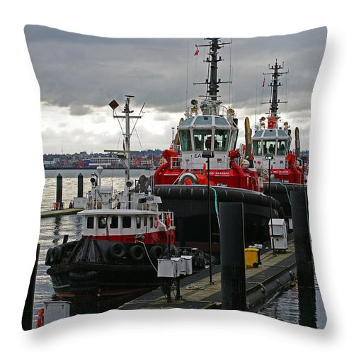 Boats Throw Pillow featuring the photograph Three Red Tugs by Randy Harris
