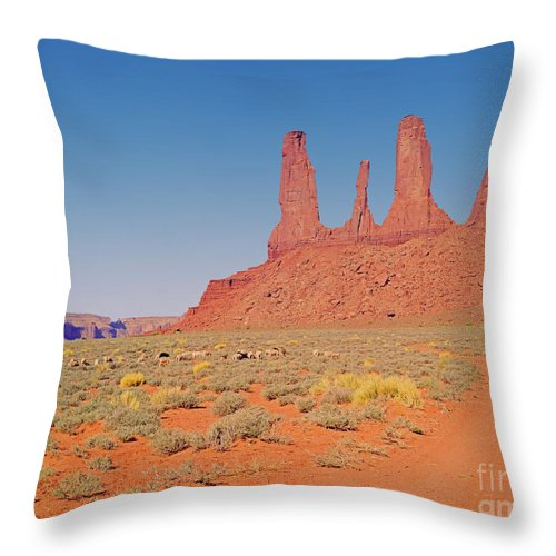 Arizona Throw Pillow featuring the photograph Three Sisters And Grazing Sheep by Rich Walter