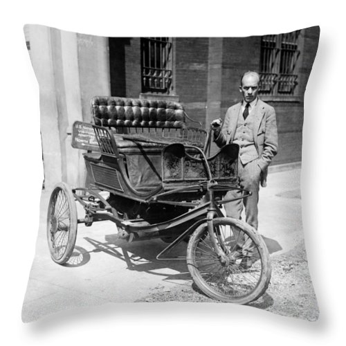 1924 Throw Pillow featuring the photograph Three-wheel Automobile by Granger