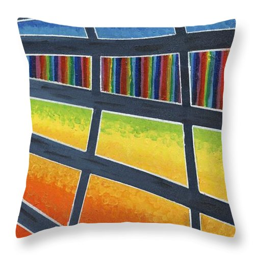 Windows Throw Pillow featuring the painting Through The Windows Of The Ship by Jeremy Aiyadurai