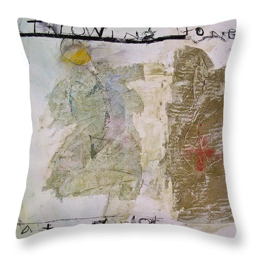 Abstract Painting Throw Pillow featuring the painting Throwing Stones At My World by Cliff Spohn