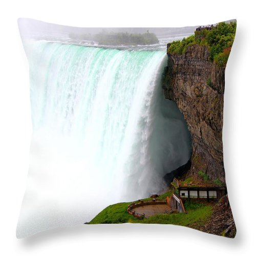 Falls Throw Pillow featuring the photograph Thundering Force by Davandra Cribbie