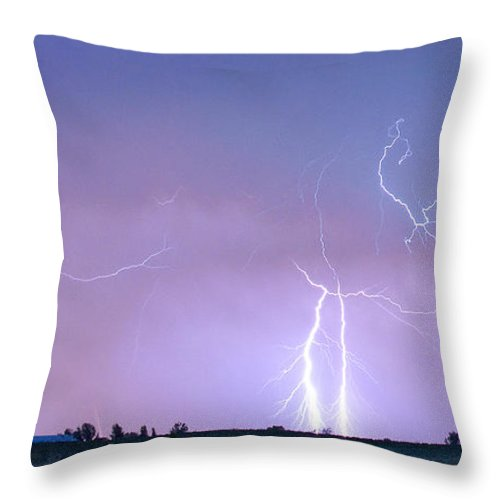 Lightning Throw Pillow featuring the photograph Thunderstorm On The Colorado Plains Panorama by James BO Insogna