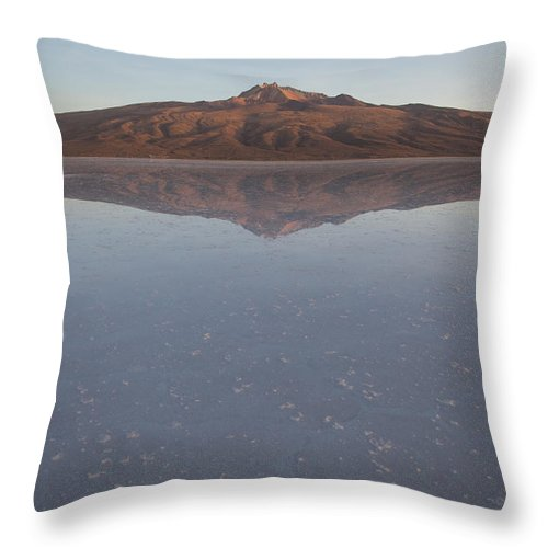 Color Image Throw Pillow featuring the photograph Thunupa Volcano Refelcted On The Salar by Michael &Amp Jennifer Lewis