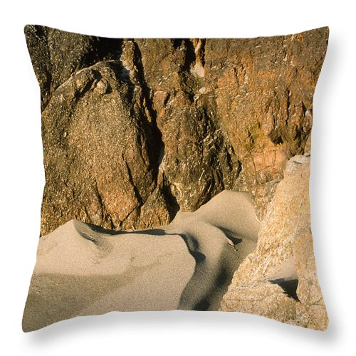 Harris Beach Throw Pillow featuring the photograph Tide Sculpture by Sandra Bronstein