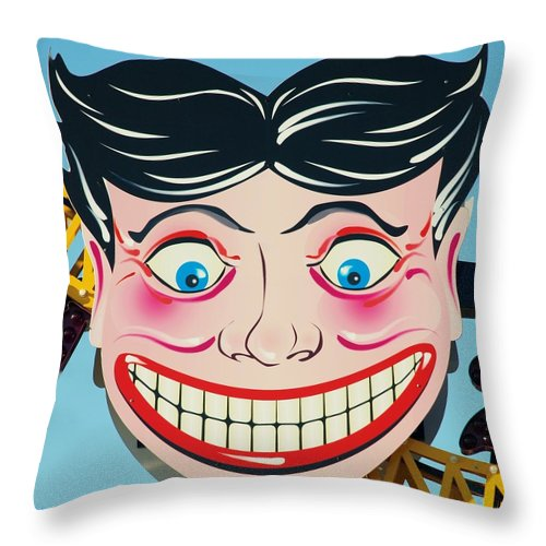 Brooklyn Throw Pillow featuring the photograph TILLIE THE CLOWN of CONEY ISLAND by Rob Hans