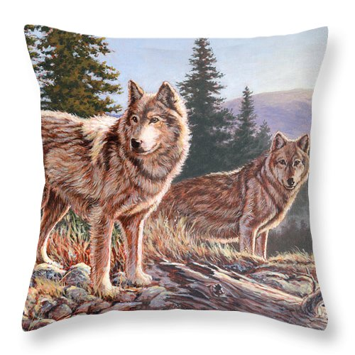 Wolf Throw Pillow featuring the painting Timber Ridge by Richard De Wolfe