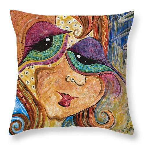 Self Portrait Throw Pillow featuring the painting Time Is Flying By by Tanielle Childers