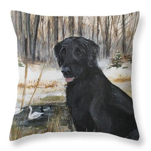 Flat-coated Retriever Throw Pillow featuring the painting Time Out Flat Coat Retriever by Ron Hevener