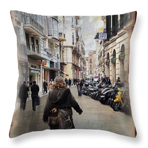 Time Throw Pillow featuring the photograph Time Warp In Malaga by Mary Machare