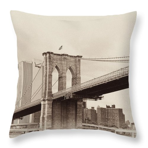Brooklyn Bridge Throw Pillow featuring the photograph Timeless-brooklyn Bridge by Regina Geoghan