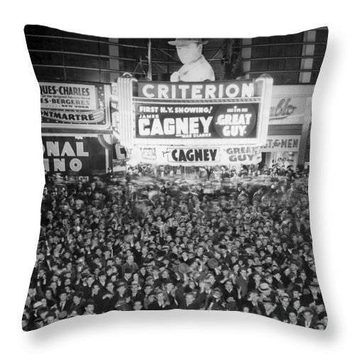 1930s Throw Pillow featuring the photograph Times Square Election Crowds by Underwood Archives