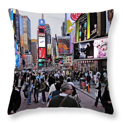New York Throw Pillow featuring the photograph Times Square New York by David Dehner