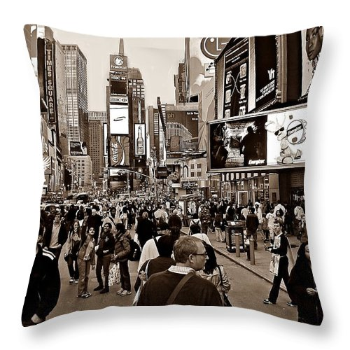 New York Throw Pillow featuring the photograph Times Square New York S by David Dehner