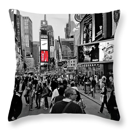 New York Throw Pillow featuring the photograph Times Square New York Toc by David Dehner