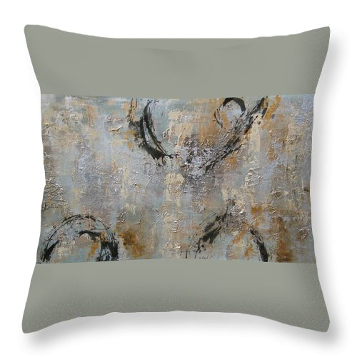 Silver Throw Pillow featuring the painting Tin by Christie Brunet