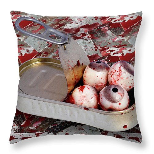 Eyeball Throw Pillow featuring the photograph Tin Of Eyes by Michal Boubin