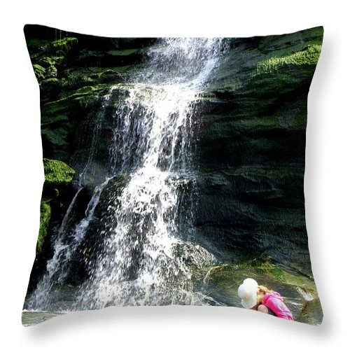 Waterfall Throw Pillow featuring the photograph Tintagel Beach by Lainie Wrightson