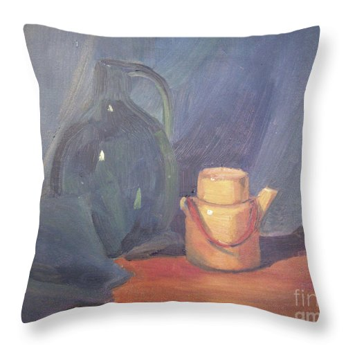 Still Life Throw Pillow featuring the painting Tiny Tea by Lilibeth Andre