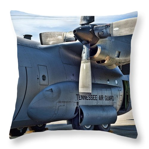 Tennessee Air Guard Throw Pillow featuring the photograph Tn C-130 by Sheri Bartoszek
