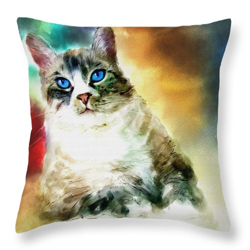 Cat Throw Pillow featuring the painting Toby The Cat by Robert Smith