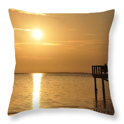 Together At Sunset Throw Pillow featuring the photograph Together At Sunset by Bill Cannon