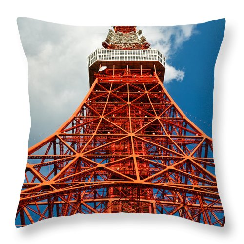 Architecture Throw Pillow featuring the photograph Tokyo Tower Face Cloudy Sky by U Schade