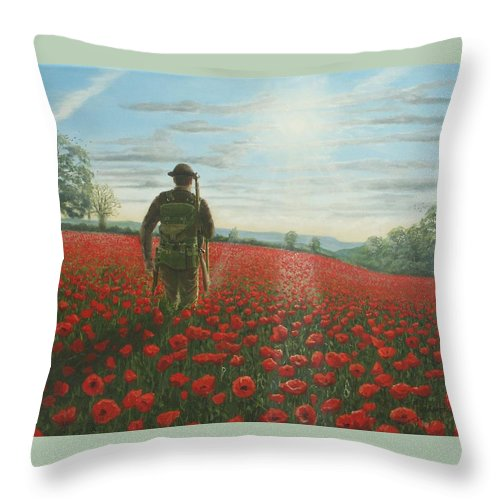 Ww1 Throw Pillow featuring the painting Tommy 2 by Richard Harpum