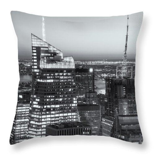 Clarence Holmes Throw Pillow featuring the photograph Top Of The Rock Twilight Vii by Clarence Holmes