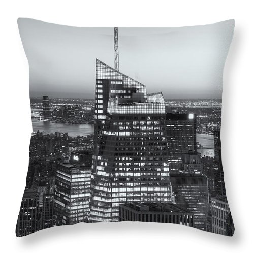 Clarence Holmes Throw Pillow featuring the photograph Top Of The Rock Twilight Viii by Clarence Holmes
