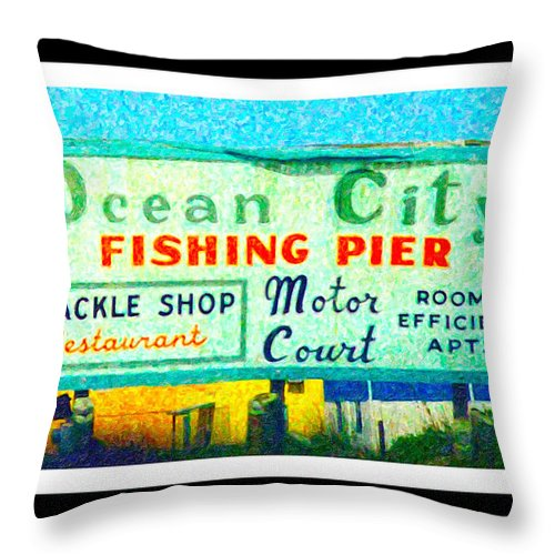 Ocean Throw Pillow featuring the digital art Topsail Island Old Sign by Betsy Knapp