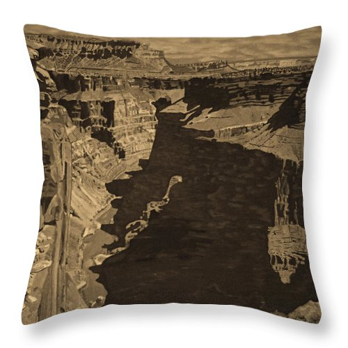 Sepia Throw Pillow featuring the photograph Toroweap Point - Sepia by Rich Walter