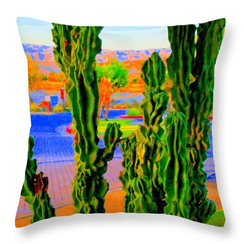 Cactus Throw Pillow featuring the photograph Totem Cactus by Randall Weidner